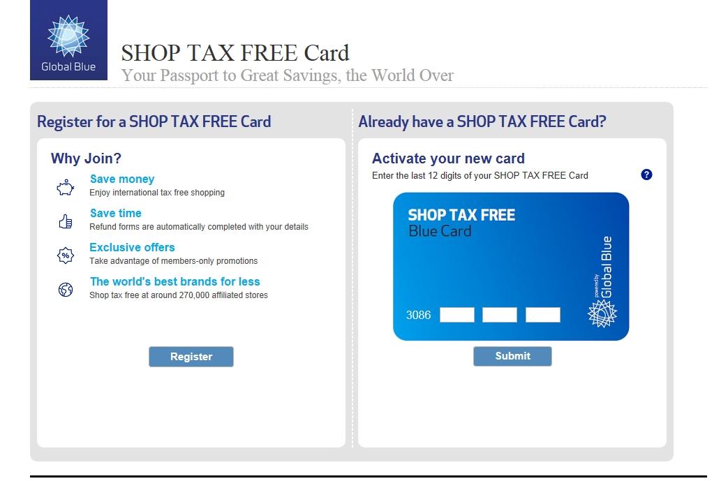 shop tax free card